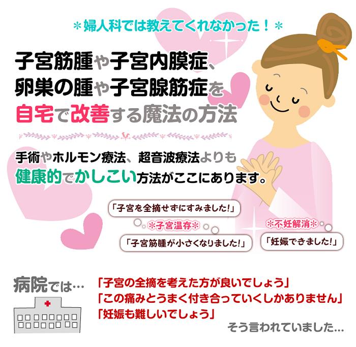 子宮筋腫・子宮内膜症・卵巣のう腫・子宮腺筋症を自宅で改善